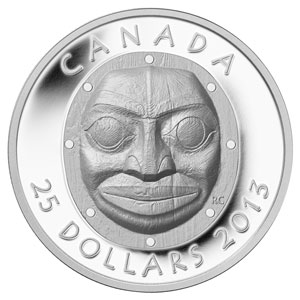 2013 1 oz Silver Canadian $25 Grandmother Moon Mask UHR